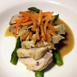 Sous Vide chicken, chicken leg meat-glued to chicken breast,asparagus, baked carrots